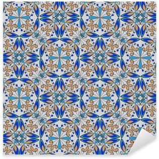 Vinilo Pixerstick Fina alfombra de colores oriental u ornamento de cerámica en colores naranja y azul con las curvas de color blanco sobre fondo negro, vector patrones geométricos simétricos