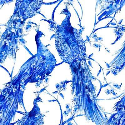 Pixerstick para Todas las Superficies Flor azul de la acuarela de época perfecta patrón con los pavos reales
