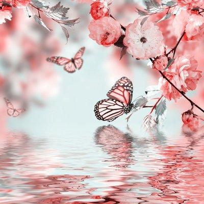 Pixerstick para Todas las Superficies Flor rosa de un cerezo Oriental y la mariposa