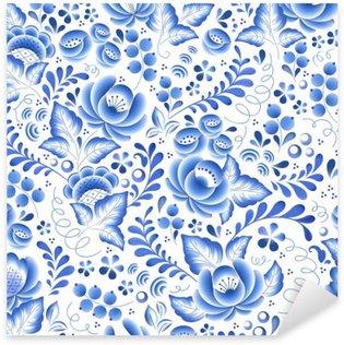 Vinilo Pixerstick Flores de color azul de flores de porcelana ruso ornamento hermoso popular.