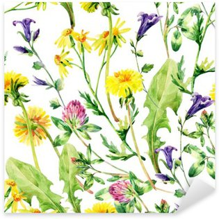 Pixerstick para Todas las Superficies Flores silvestres acuarela prado sin patrón