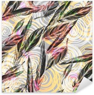 Vinilo Pixerstick Follaje tropical patrón transparente. Hojas de colores de acuarela de plantas exóticas Calathea Whitestar el patrón geométrico espiral, mezclados efecto. impresión textil.