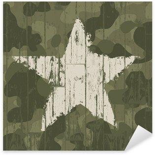Vinilo Pixerstick Fondo del camuflaje militar con la estrella. Vector, EPS10.