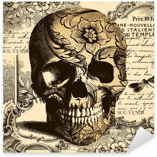 Vinilo Pixerstick Fondo del cráneo Vintage