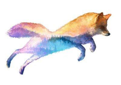 Pixerstick para Todas las Superficies Fox ilustración doble exposición