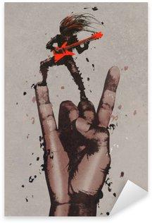 Vinilo Pixerstick Gran mano en rock and roll firmar con el guitarrista, pintura ilustración