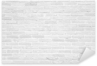 Vinilo Pixerstick Grunge pared de ladrillo blanco textura de fondo