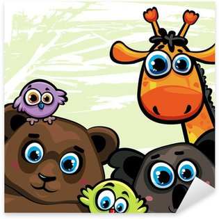 Pixerstick para Todas las Superficies Grupo de animales - oso, jirafa, koala y las aves