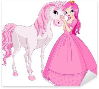 Vinilo Pixerstick Hermosa princesa y el caballo