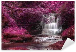 Vinilo Pixerstick Hermoso color alternativo cascada paisaje surrealista
