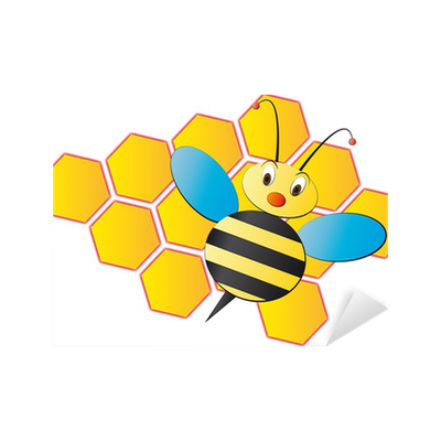 vinilo pixerstick ilustracin de dibujos animados con colmena de abejas pixers vivimos para cambiar