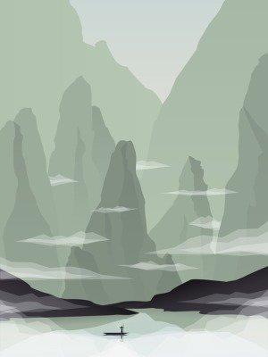Pixerstick para Todas las Superficies Ilustración vectorial paisaje sudeste asiático con rocas, acantilados y el mar. China o Vietnam promoción turística.