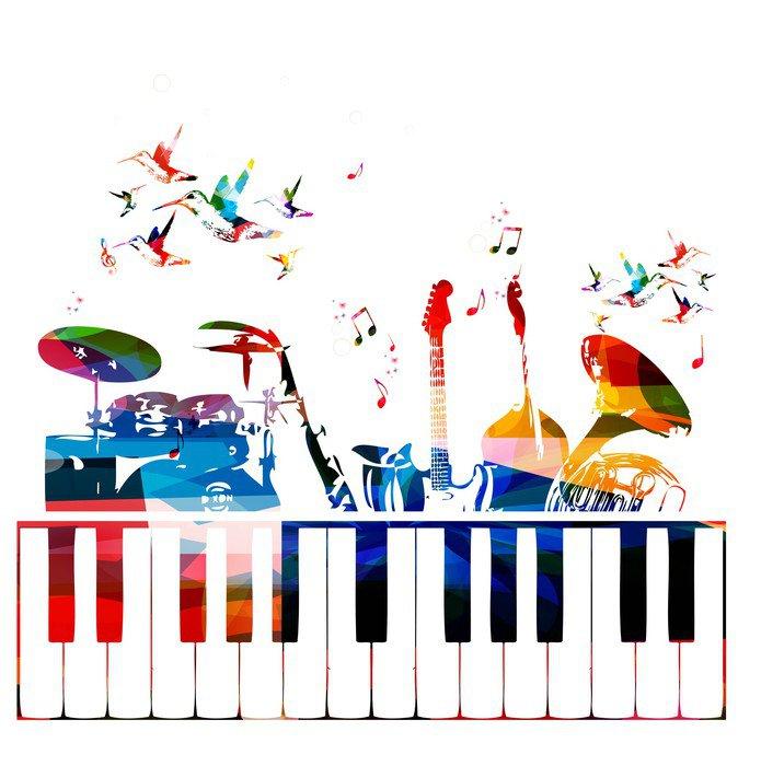 Vinilo pixerstick instrumentos musicales de colores de for Vinilos decorativos instrumentos musicales