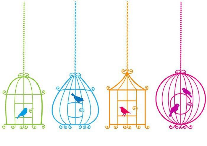 Pixerstick para Todas las Superficies Jaulas de pájaros encantadores con los pájaros, vector - Libertad