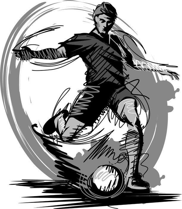 Pixerstick para Todas las Superficies Jugador de fútbol Kicking Ball. Ilustración vectorial - Deportes de equipo