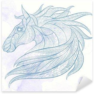 Vinilo Pixerstick La cabeza con dibujos del caballo sobre el fondo del grunge. África / diseño indio / tótem / tatuaje. Se puede utilizar para el diseño de una camiseta, bolsa, tarjeta postal, un cartel y así sucesivamente.
