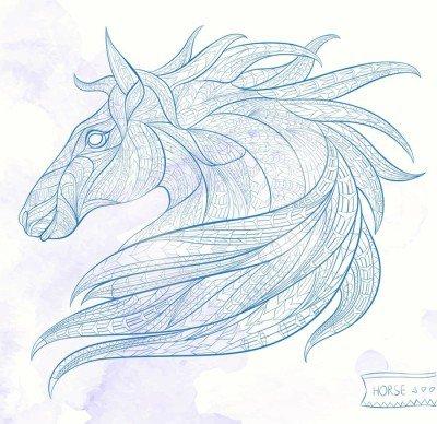 Pixerstick para Todas las Superficies La cabeza con dibujos del caballo sobre el fondo del grunge. África / diseño indio / tótem / tatuaje. Se puede utilizar para el diseño de una camiseta, bolsa, tarjeta postal, un cartel y así sucesivamente.