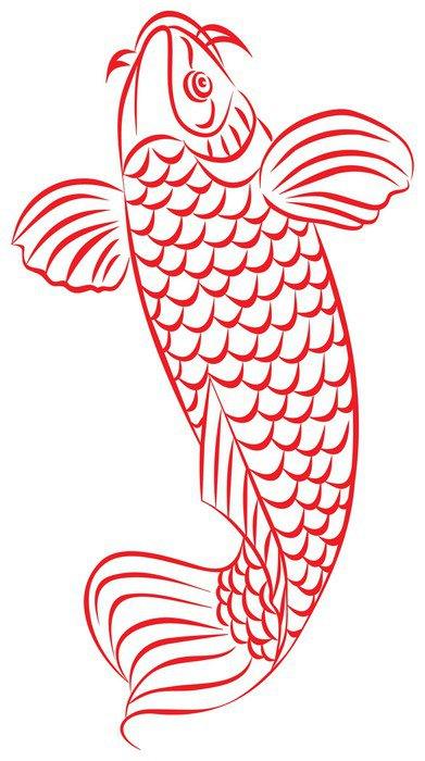 Worksheet. Vinilo Pixerstick La carpa pez rojo estilo de dibujo japons o