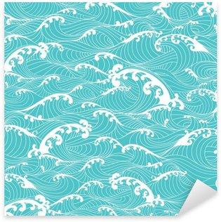 Vinilo Pixerstick Las olas del océano, el modelo de barras de mano transparente dibujados estilo asiático