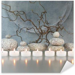 Vinilo Pixerstick Las ramitas, piedras, velas