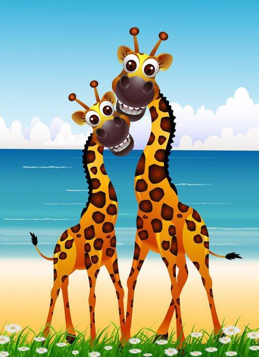 Vinilo Pixerstick Linda pareja de dibujos animados jirafa con