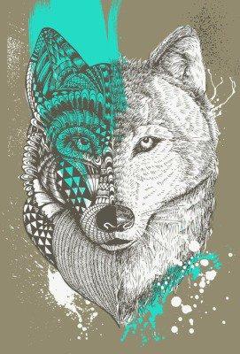Pixerstick para Todas las Superficies Lobo estilizado zentangle con salpicaduras de pintura, ilustración dibujados a mano