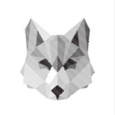 Pixerstick para Todas las Superficies Lobo muestra grabada illyustrat animales de vectores