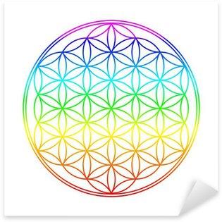 Vinilo Pixerstick Los colores de Chakra Flor de la Vida