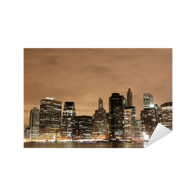 Vinilo pixerstick manhattan skyline at night new york for Vinilos pared new york