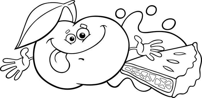 Vinilo Pixerstick Manzana y pastel para colorear de dibujos