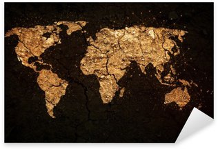 Vinilo Pixerstick Mapa del mundo en el fondo del grunge