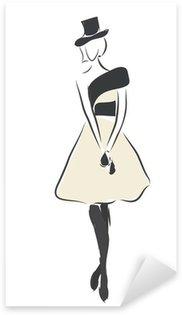 Pixerstick para Todas las Superficies Moda Diseño Bosquejo de una mujer con un vestido y un sombrero