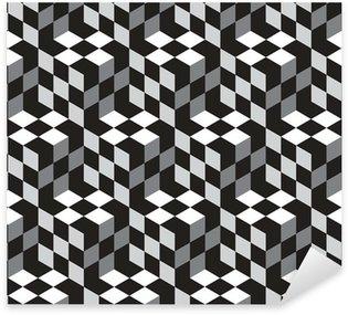 Vinilo Pixerstick Modelo blanco y negro cubos óptico illustion Vector Seamless