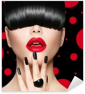 Pixerstick para Todas las Superficies Modelo de la muchacha del retrato con la moda Peinado, maquillaje y manicura