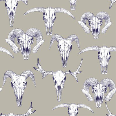 Pixerstick para Todas las Superficies Modelo inconsútil con los cráneos de ciervos, toros, cabras y ovejas. Dibujo lineal de cráneos. mística de fondo para su diseño.