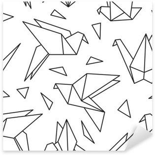 Vinilo Pixerstick Modelo inconsútil con los pájaros de origami. Puede ser utilizado para el papel pintado de escritorio o el marco de un tapiz o un cartel, por patrones de relleno, texturas de la superficie, fondos de páginas web, textiles y más.