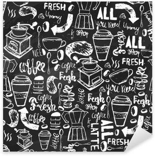 Vinilo Pixerstick Modelo inconsútil de café dibujado a mano sin fisuras. Modelo del café con letras. Modelo del vector de café sobre un fondo oscuro para el envasado, banners.