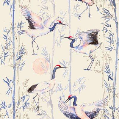 Pixerstick para Todas las Superficies Modelo inconsútil de la acuarela dibujado a mano con grúas blancas baile japonés. fondo repetido con aves delicadas y bambú