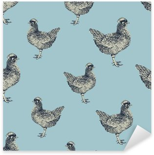 Vinilo Pixerstick Modelo inconsútil del vector con las gallinas y los pollitos.