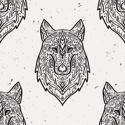 Pixerstick para Todas las Superficies Modelo inconsútil del vector del grunge en blanco y negro con el lobo estilo tribal con adornos étnicos. motivos indios americanos. diseño de Boho.