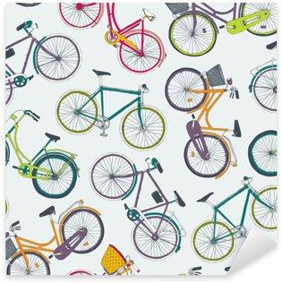 Vinilo Pixerstick Modelo inconsútil del vector dibujado a mano con bicicletas de ciudad