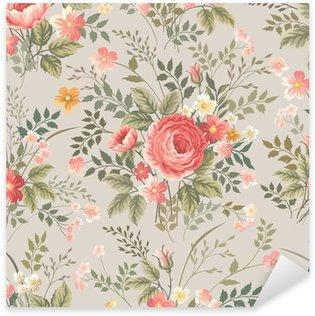 Vinilo Pixerstick Modelo inconsútil floral con rosas