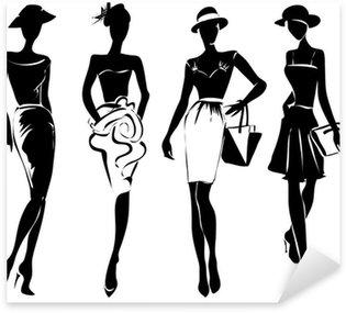 Pixerstick para Todas las Superficies Modelos de la moda retro en blanco y negro en el estilo de dibujo