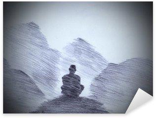 Vinilo Pixerstick Monje budista en las montañas