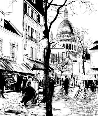 Pixerstick para Todas las Superficies Montmartre en invierno