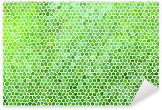 Pixerstick para Todas las Superficies Mosaico de piedra abstracto en colores verdes con juntas blancas.