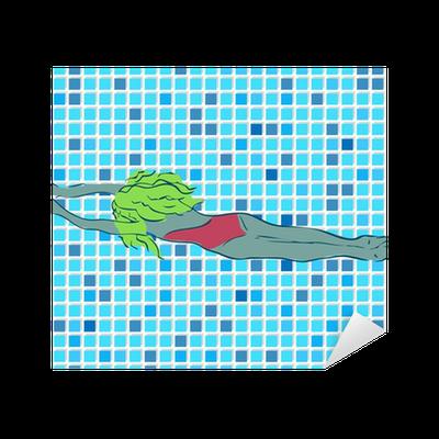 Vinilo pixerstick mosaico del azulejo del vector mujer en for Azulejos pvc autoadhesivos