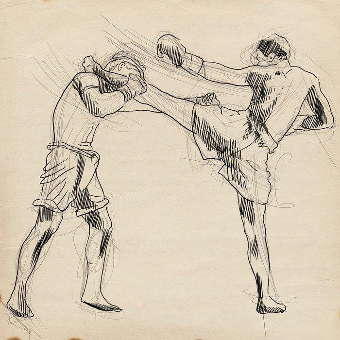 Vinilo Pixerstick Muay Thai arte marcial de combate de Tailandia