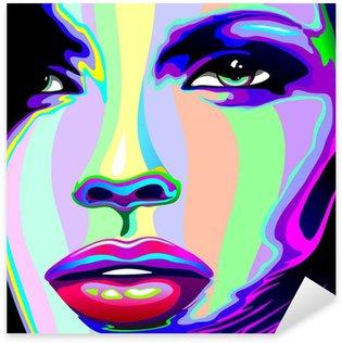 Vinilo Pixerstick Muchacha Retrato Psychedelic Psychedelic Rainbow-muchacha de la cara