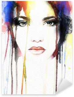 Pixerstick para Todas las Superficies Mujer .abstract retrato de la acuarela